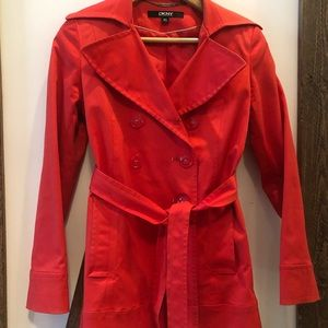 Belted Red DKNY raincoat